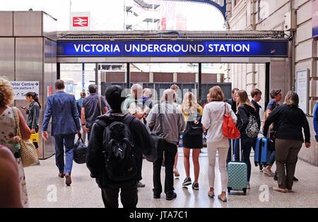 London UK - Victoria Underground Station entrance - Stock Photo