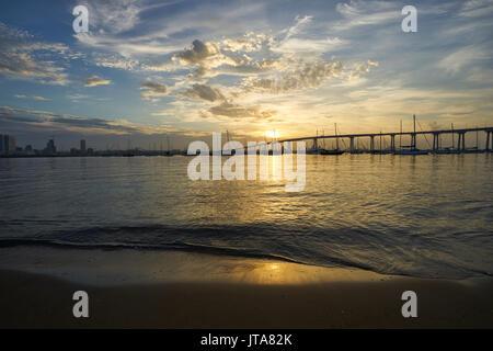 view from Dinghy Landing on Coronado Island towards the Coronado Bridge, California - Stock Photo