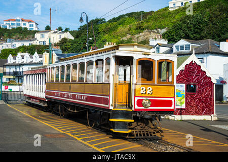 Old tram in Douglas, Isle of Man, crown dependency of the United Kingdom, Europe - Stock Photo