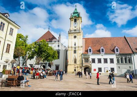 Old town hall on Hlavne Namestie square, Bratislava, Slovakia, Europe - Stock Photo