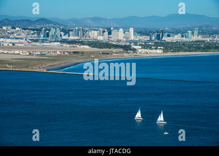 View over San Diego Bay from the Cabrillo National Monument, Point Loma, San Diego, California, USA, North America - Stock Photo