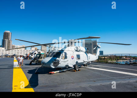 Helicopters on deck of the USS Midway Museum, San Diego, California, United States of America, North America - Stock Photo