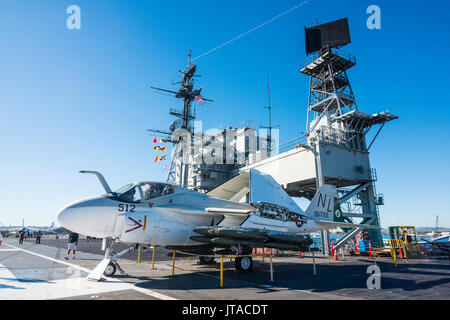 Fighter jet on deck of the USS Midway Museum, San Diego, California, United States of America, North America - Stock Photo