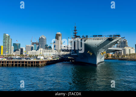 Skyline of San Diego with USS Midway, Harbour of San Diego, California, United States of America, North America - Stock Photo