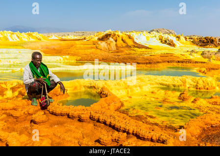 Colourful springs of acid in Dallol, hottest place on earth, Danakil depression, Ethiopia, Africa - Stock Photo