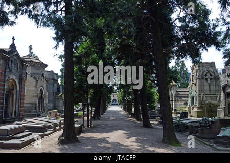 The Monumental Cemetery, more than just a simple cemetery, is an extraordinary outdoor museum, Milan, Lombardy, - Stock Photo