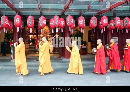Ullambana ceremony, Buddhist monks' procession, Buddha Tooth Relic Temple, Chinatown, Singapore, Southeast Asia, - Stock Photo