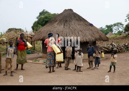 Ugandan village, Uganda, Africa - Stock Photo