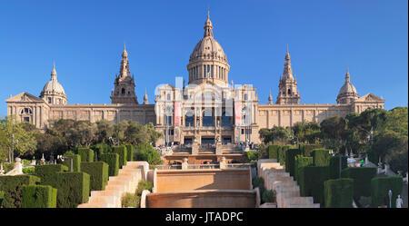 Palau Nacional (Museu Nacional d'Art de Catalunya), Montjuic, Barcelona, Catalonia, Spain, Europe - Stock Photo