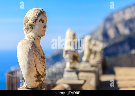 Stunning Terrace of Infinity, Gardens of Villa Cimbrone, Ravello, Amalfi Coast, UNESCO, Campania, Italy, Europe - Stock Photo