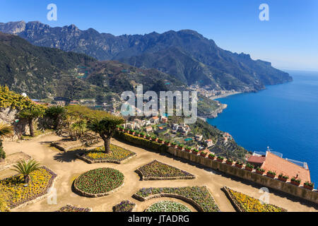 Belvedere, stunning Gardens of Villa Rufolo, Ravello, Amalfi Coast, UNESCO World Heritage Site, Campania, Italy, - Stock Photo