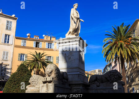 Statue of Napoleon as Roman Emperor, with lions and palm trees, pastel buildings, Place Foch, Ajaccio, Island of - Stock Photo