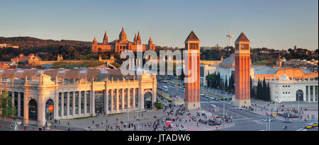 View over Placa d'Espanya (Placa de Espana) to Palau Nacional (Museu Nacional d'Art de Catalunya), Barcelona, Catalonia, - Stock Photo