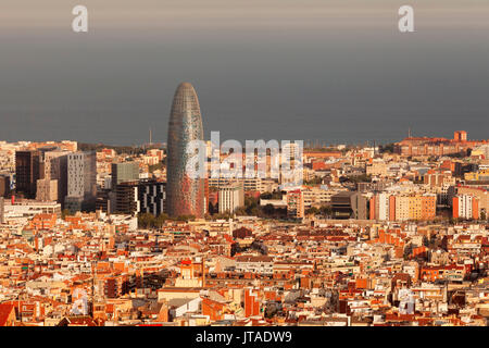 View over Barcelona with Torre Agbar Tower, architect Jean Nouvel, Barcelona, Catalonia, Spain, Europe - Stock Photo