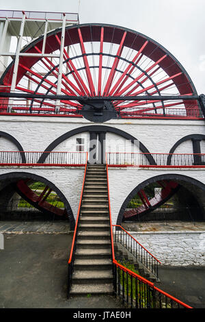 The Great Laxey Wheel, Isle of Man, crown dependency of the United Kingdom, Europe - Stock Photo