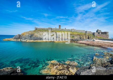 Peel Castle, Peel, Isle of Man, crown dependency of the United Kingdom, Europe - Stock Photo