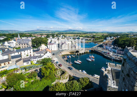 Overlook over Castletown, Isle of Man, crown dependency of the United Kingdom, Europe - Stock Photo