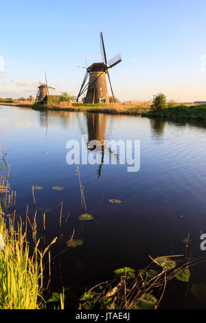Typical windmills reflected in the canal framed by grass in spring, Kinderdijk, UNESCO, Molenwaard, South Holland - Stock Photo