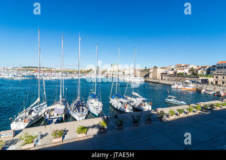 View over the boat harbour of the coastal town of Alghero, Sardinia, Italy, Mediterranean, Europe - Stock Photo