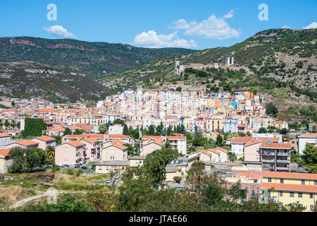 View over the town of Bosa at the River Temo, Sardinia, Italy, Europe - Stock Photo