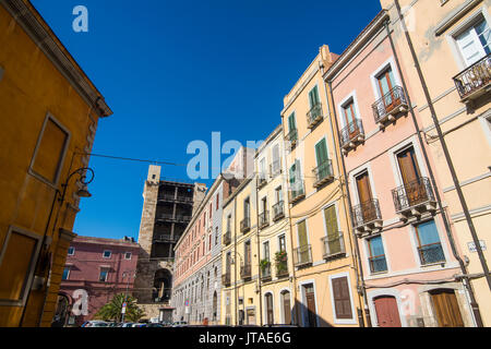 Old houses in the old town of Cagliari, Sardinia, Italy, Europe - Stock Photo