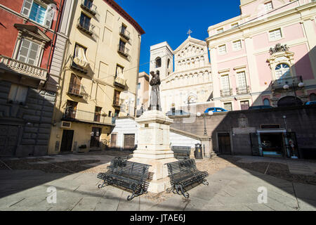 Carlo Alberto square in front of the cathedral of Cagliari, Sardinia, Italy, Europe - Stock Photo