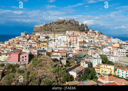 View over Castelsardo, Sardinia, Italy, Mediterranean, Europe - Stock Photo