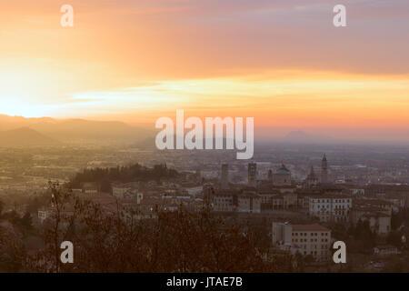 Dawn over Citta Alta (Upper City), Bergamo, Lombardy, Italy, Europe - Stock Photo
