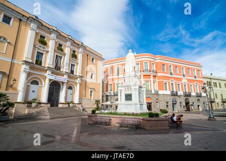 Statue of Eleanor of Arborea, in front of the city hall, Oristano, Sardinia, Italy, Europe - Stock Photo