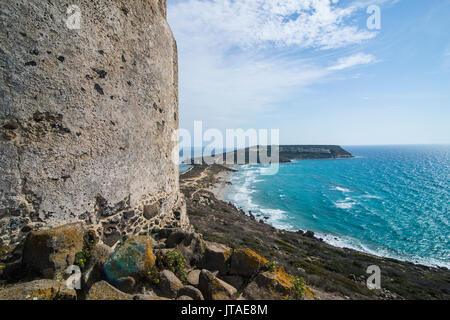 View over Cape San Marcos and San Giovanni tower, Tharros, Sardinia, Italy, Mediterranean, Europe - Stock Photo