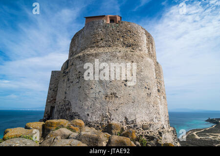 Tower of San Giovanni, Tharros, Sardinia, Italy, Mediterranean, Europe - Stock Photo