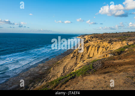 Sandstone cliffs at sunset, Torrey Pines, California, United States of America, North America - Stock Photo