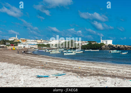 The town of Jazeera at the end of Jazeera beach, Somalia, Africa - Stock Photo