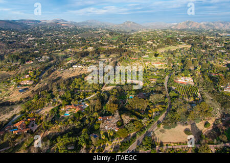 Aerial over Encinitas from a hot air balloon, California, United States of America, North America - Stock Photo