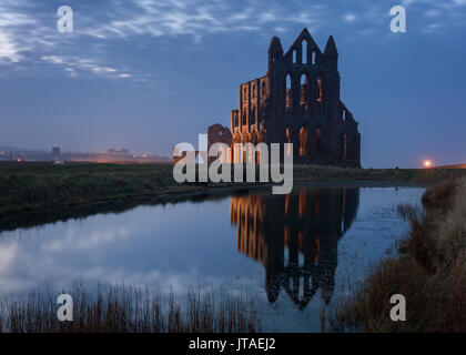 Whitby Abbey perched on the cliffs above Whitby and inspiration for Bram Stoker's Dracula, North Yorkshire, England