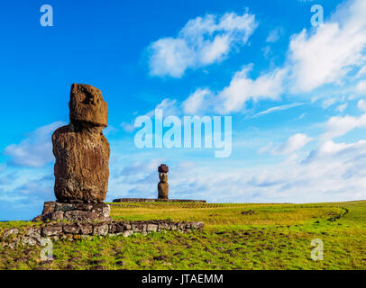 Moais in Tahai Archaeological Complex, Rapa Nui National Park, UNESCO World Heritage Site, Easter Island, Chile - Stock Photo