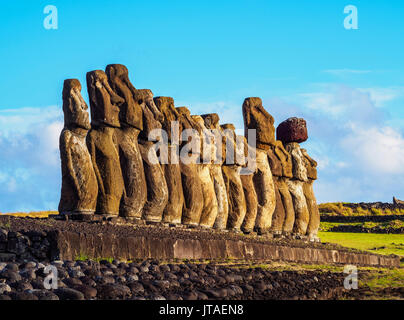 Moais in Ahu Tongariki, Rapa Nui National Park, UNESCO World Heritage Site, Easter Island, Chile - Stock Photo