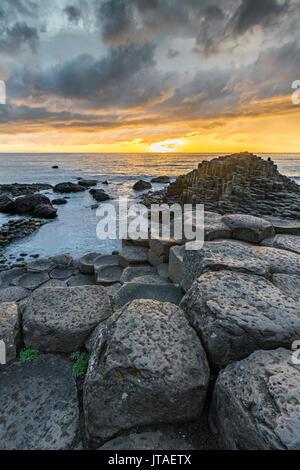 Giants Causeway at sunset, UNESCO World Heritage Site, County Antrim, Ulster, Northern Ireland, United Kingdom, - Stock Photo