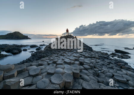 Giants Causeway at sunset, UNESCO World Heritage Site, County Antrim, Ulster, Northern Ireland, United Kingdom, - Stock Photo