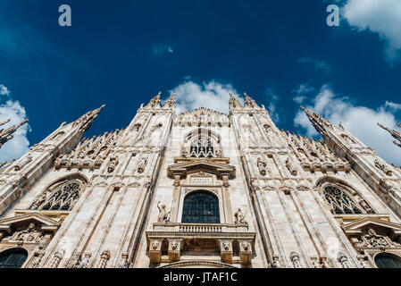 Front and wide angle view of Milan's iconic Duomo Cathedral, Milan, Lombardy, Italy, Europe - Stock Photo