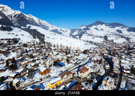 Aerial view, Chateau-d'Oex, Vaud, Swiss Alps, Switzerland, Europe - Stock Photo