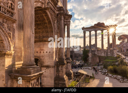 The Arch of Septimius Severus and The Temple of Saturn in the Roman Forum, UNESCO, Rome, Lazio, Italy, Europe - Stock Photo