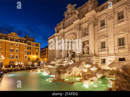 The Trevi Fountain backed by the Palazzo Poli at night, Rome, Lazio, Italy, Europe - Stock Photo