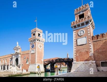 Porta Magna at the Venetian Arsenal (Arsenale di Venezia), a Byzantine shipyard and armoury, Venice, UNESCO, Veneto, - Stock Photo