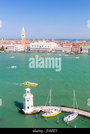 Campanile tower, Palazzo Ducale (Doges Palace), Bacino di San Marco (St. Marks Basin), Venice, UNESCO, Veneto, Italy, - Stock Photo