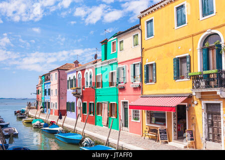 Brightly coloured fishermens cottages on the island of Burano in the Venice lagoon, Venice, UNESCO, Veneto, Italy - Stock Photo
