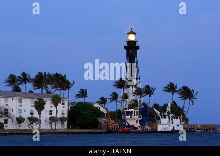 Hillsboro Lighthouse, Hillsboro Beach, Florida, United States of America, North America - Stock Photo