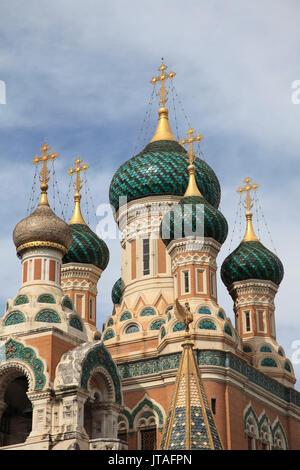 Russian Orthodox Cathedral of Saint Nicolas, Nice, Cote d'Azur, Alpes Maritimes, Provence, French Riviera, France, - Stock Photo