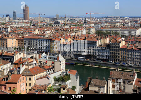 Panoramic view from Viewpoint of Notre Dame de Fourviere hill, Lyon, Rhone Valley, France, Europe - Stock Photo
