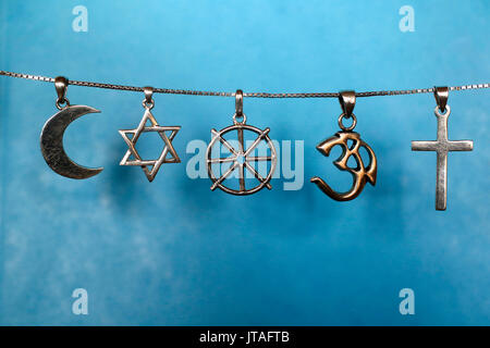 Symbols of Islam, Judaism, Buddhism, Hinduism and Christianity, Eure, France, Europe - Stock Photo